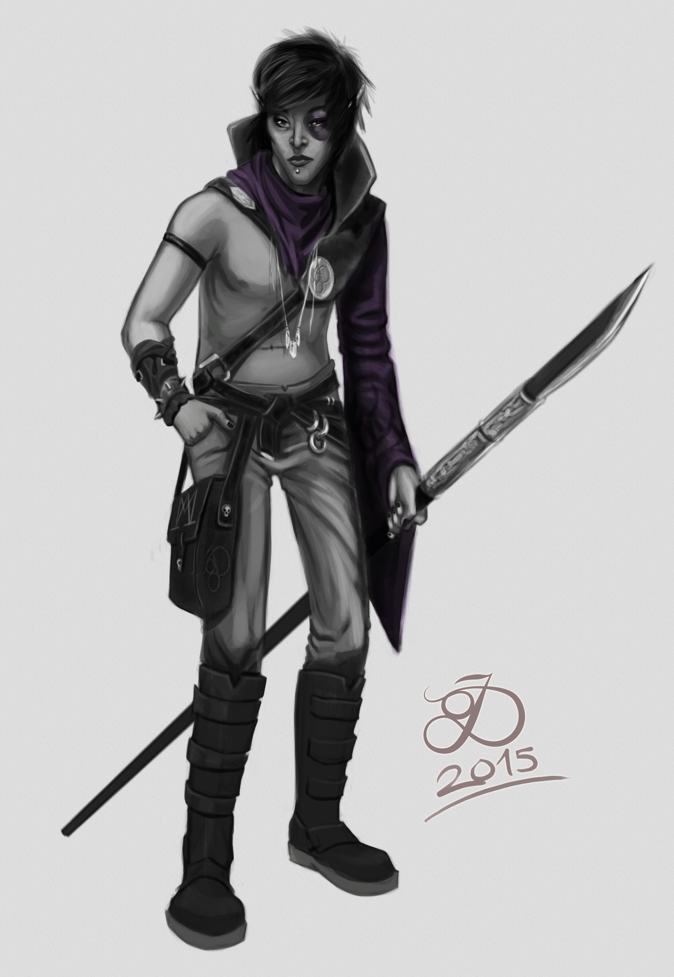 Just an emo sort of look. Sorcerers don't really wear anything on their top half as they need all wavy arm things while casting apparently.
